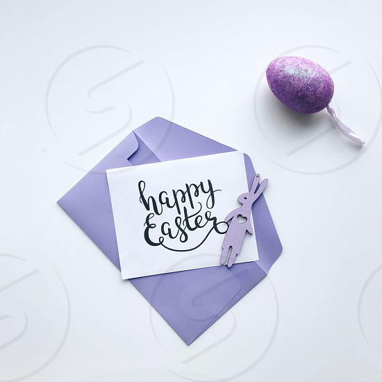 Easter purple Easter bunny Easter decor Easter eggs happy Easter bunny minimal white background message gift celebration envelope decor decorations  photo