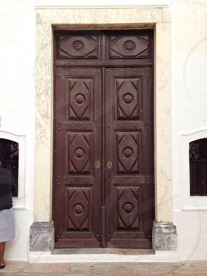 diamond pattern wooden doors entry way photo