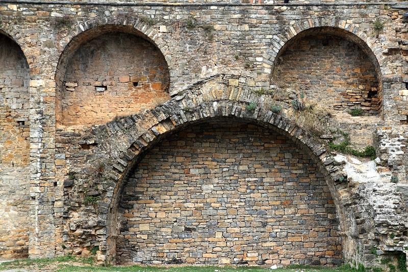 Castle fort wall in Ainsa village Aragon Pyrenees Huesca Spain photo