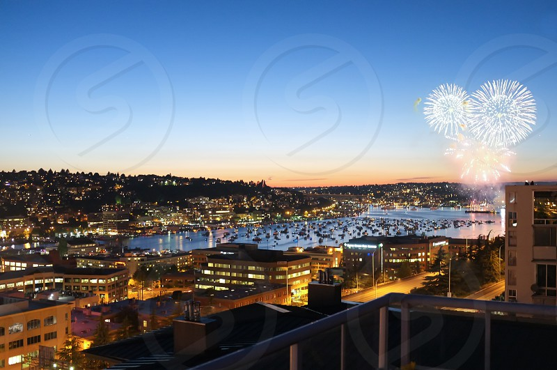 Fireworks over Lake Union in Seattle WA. photo