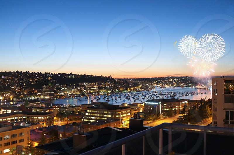 Fireworks over Lake Union in Seattle WA. photo