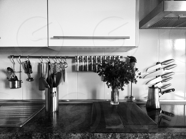 grayscale photo of interview of a kitchen photo
