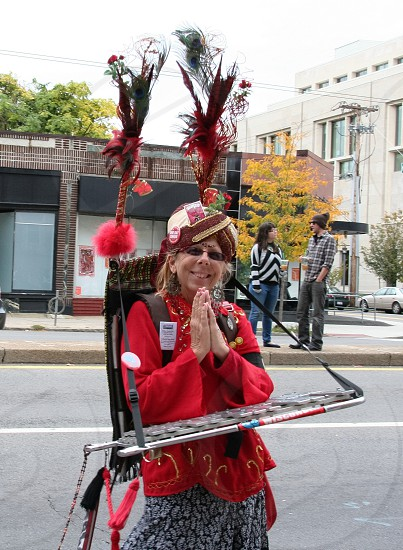 Parade performer with diverse musical instruments diversity in action performance and festivities  photo