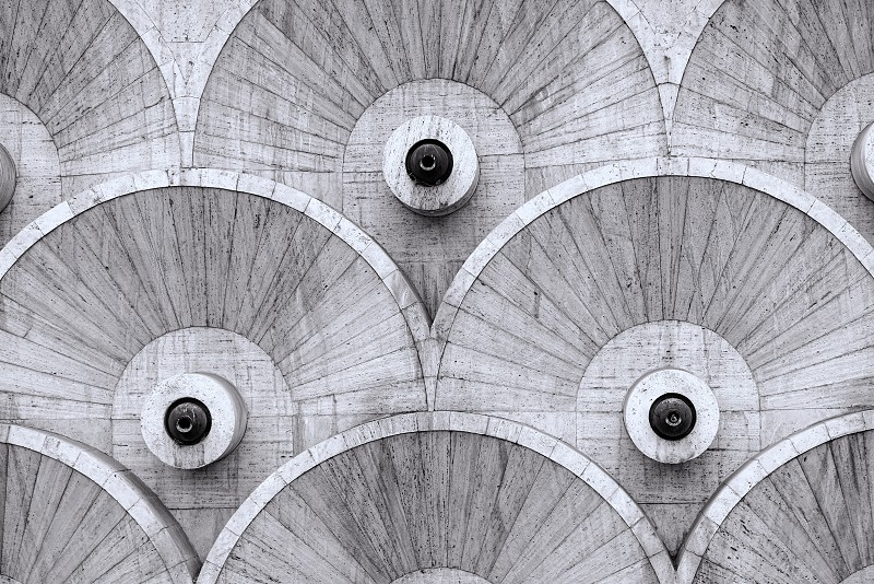 Round abstarct patterns at the stairway in Yerevan Armenia constructed during the Soviet era.  photo
