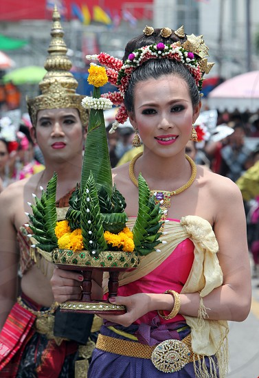 Thai Dance at the Bun Bang Fai Festival or Rocket Festival in the City of Yasothon in the Region of Isan in Northeast Thailand in Thailand.