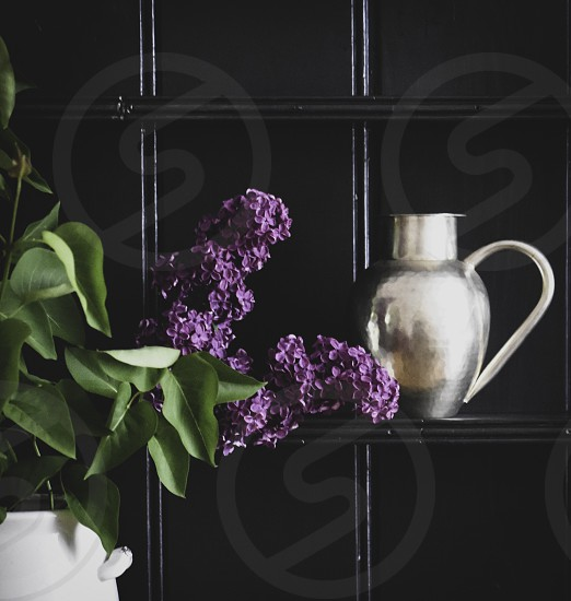 Vase of Lilac flowers on a painted dresser. photo