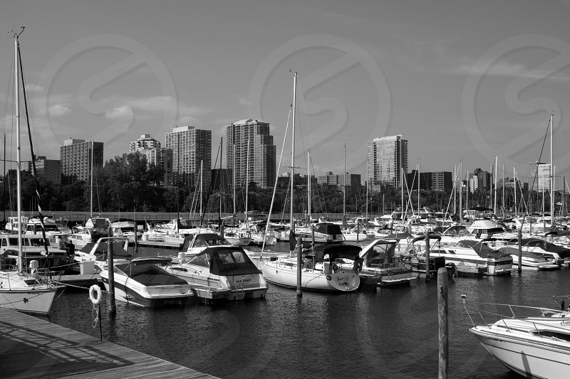 Black and white Fine Art Title:City Boats photo
