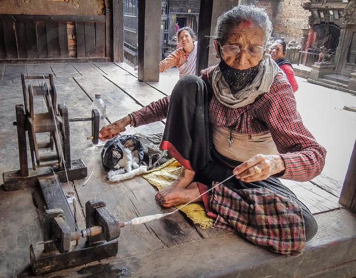 An old lady in Kathmandu Nepal  photo