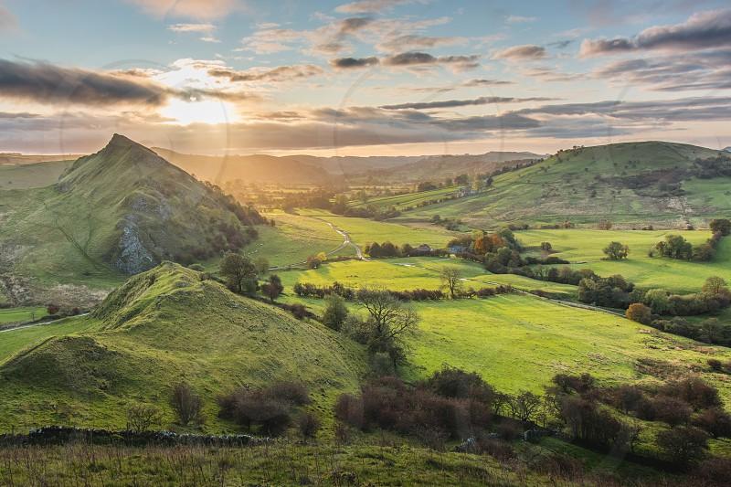 Autumn sunrise in the Peak District UK. photo