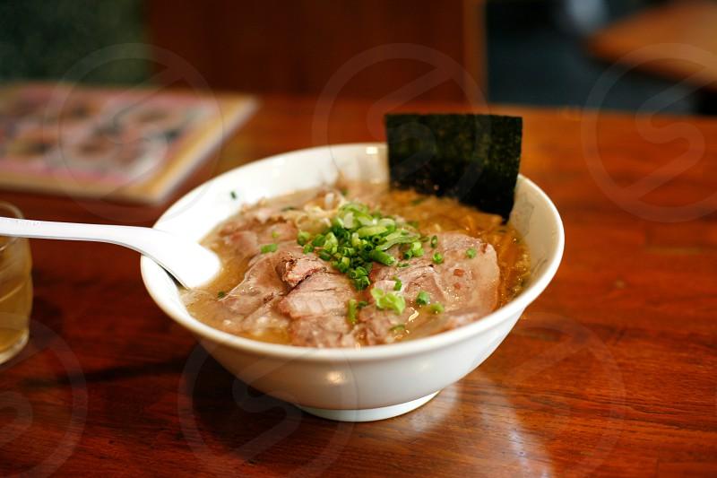 Japanese ramen noodle soup photo