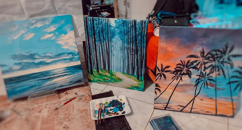 Artist life of an artist work paintings  photo