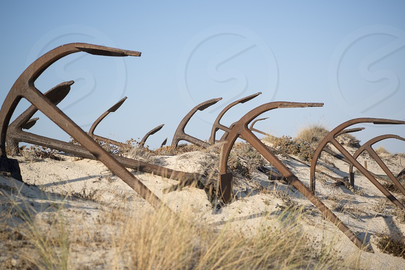 the Anchor cemetery at the Barril beach near the Town of Tavira at the east Algarve in the south of Portugal in Europe. photo