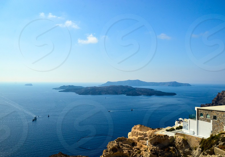 Scenic view of the Caldera of Santorini photo