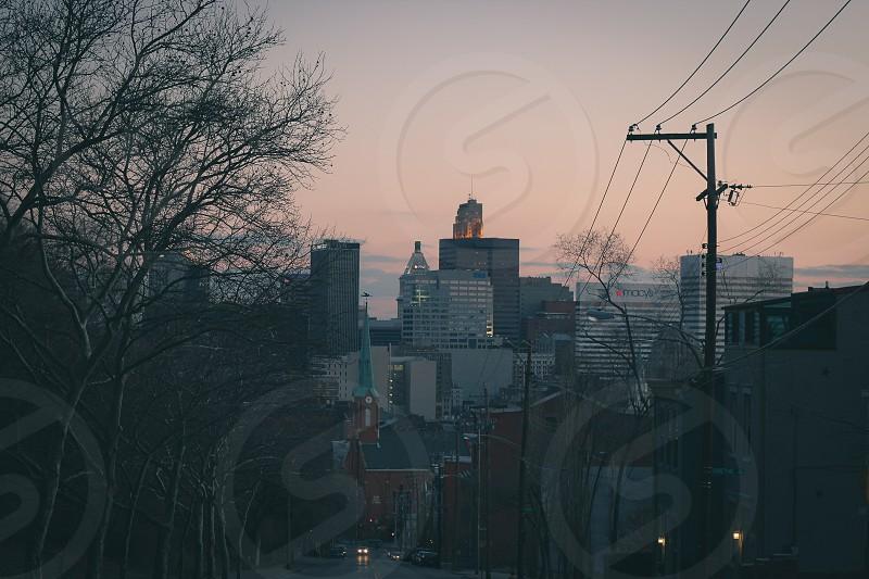 city road in twilight photo