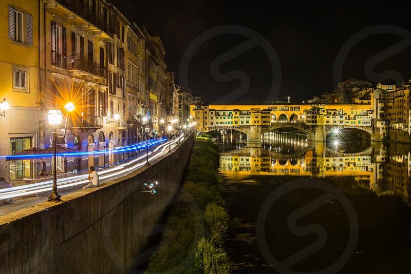 Travel Italy Tuscany St Trinity Bridge Ponte Vecchio Arno River Florence light trails long exposure  photo
