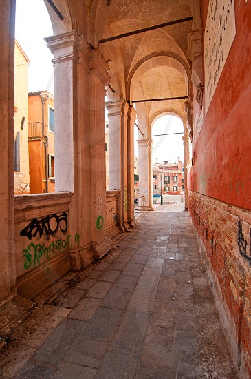 Venice Italy scuola San Rocco back view from the canal side  photo