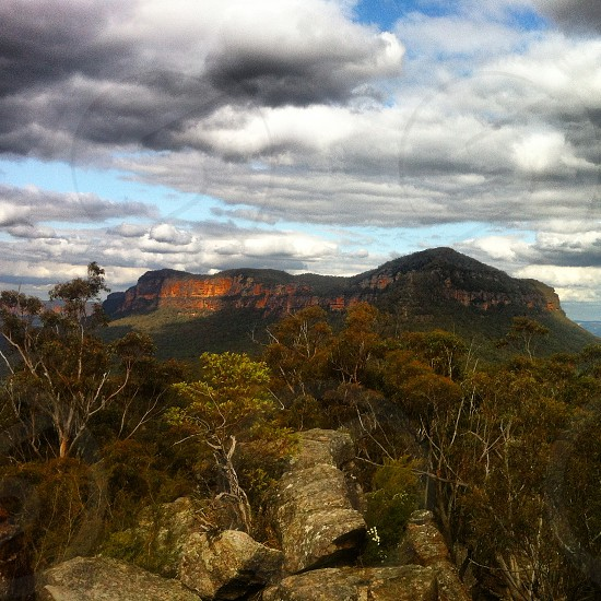 View from Ruined Castle in the Blue Mountains Australia photo