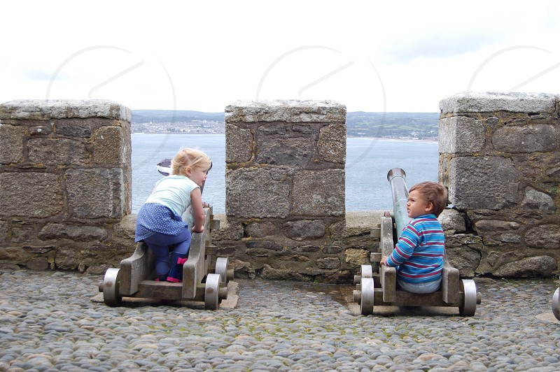 Kids on cannons  photo