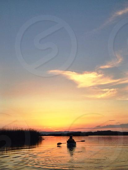 Kayak sunrise lake  photo