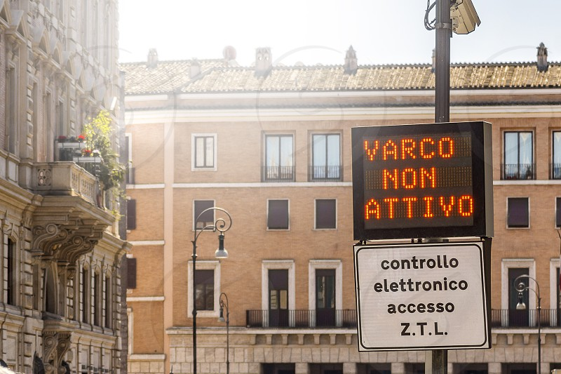 Italian Zona Traffico Limitato street sign in Rome restricted driving zone information in a street display photo