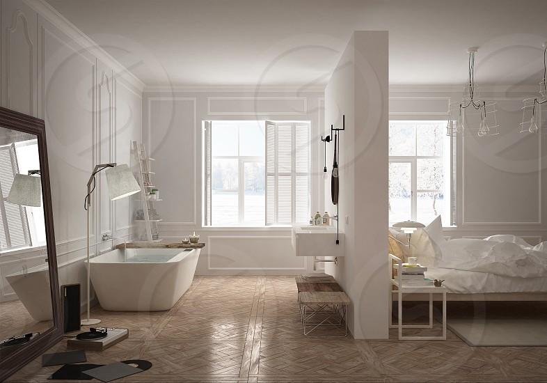 Bedroom & bathroom in scandinavian style photo