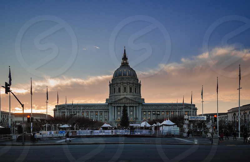 Holiday activity in front of the City Hall Building in San Francisco. photo