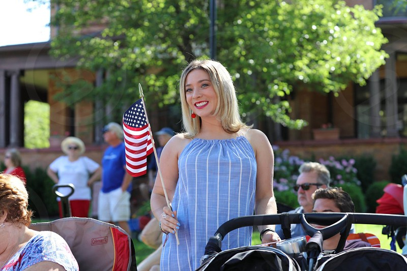 4th of July American flag patriotic summer woman photo