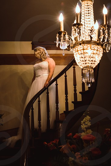 Bridal portrait on a spiral staircase photo