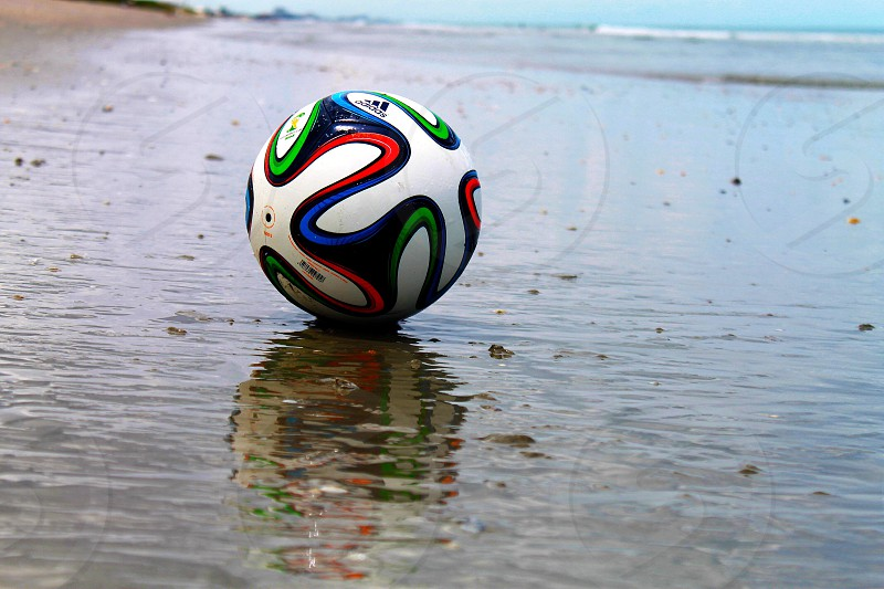 World Cup 2014 soccer ball on the beaches of Melbourne FLORIDA.  photo