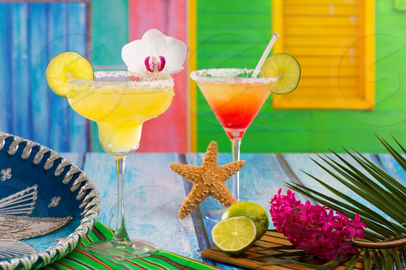 Cocktails mexican Margarita and sex on the beach at Caribbean tropical house photo