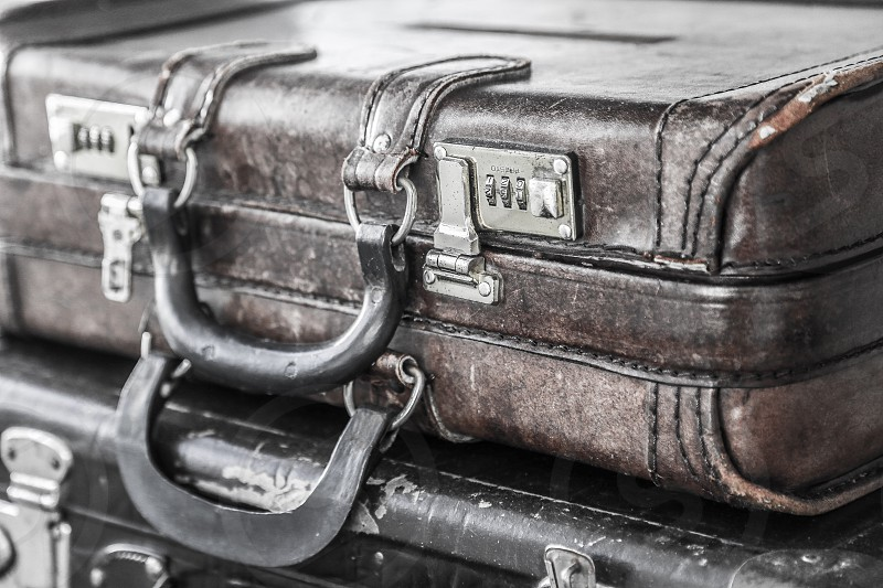 old leather suit-cases photo