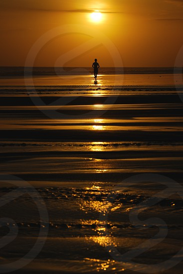 enjoy sunset on the beach in Bali photo