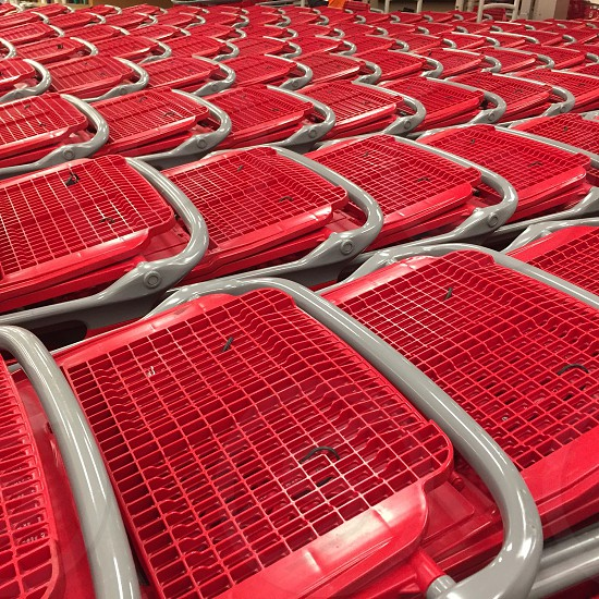 Red; shopping; shopping cart; grocery; retail photo