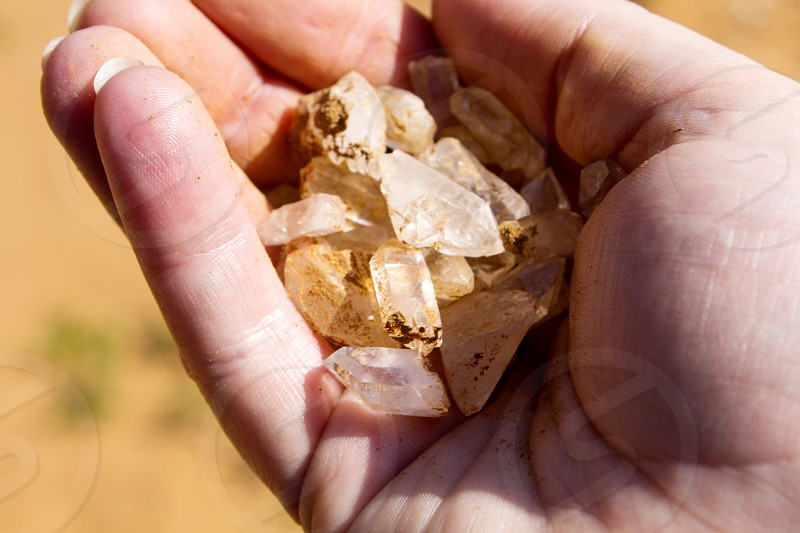 Handful of found crystals photo