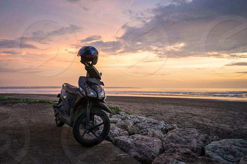 Sunset panoramic sea view on Kata beach at sunset. Phuket Thailand. photo