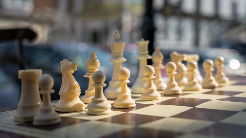 EAST GRINSTEAD  WEST SUSSEX/UK - AUGUST 18 : Chess set outside a shop in East Grinstead West Sussex on August 18 2018 photo