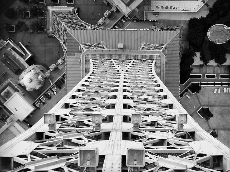 towerblack and whitearchitectureLas VegasEiffelcontrastdownwardperspective  photo