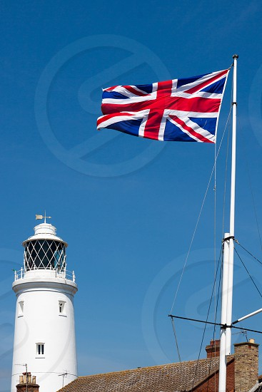 Union Jack Flag Flying near the Lighthouse in Southwold photo