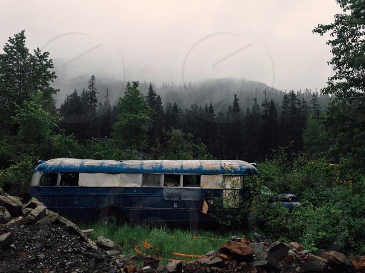 Bus vintage Washington fog trees old abandoned  photo