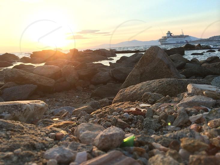 Ocean beach sunset Greece water  photo