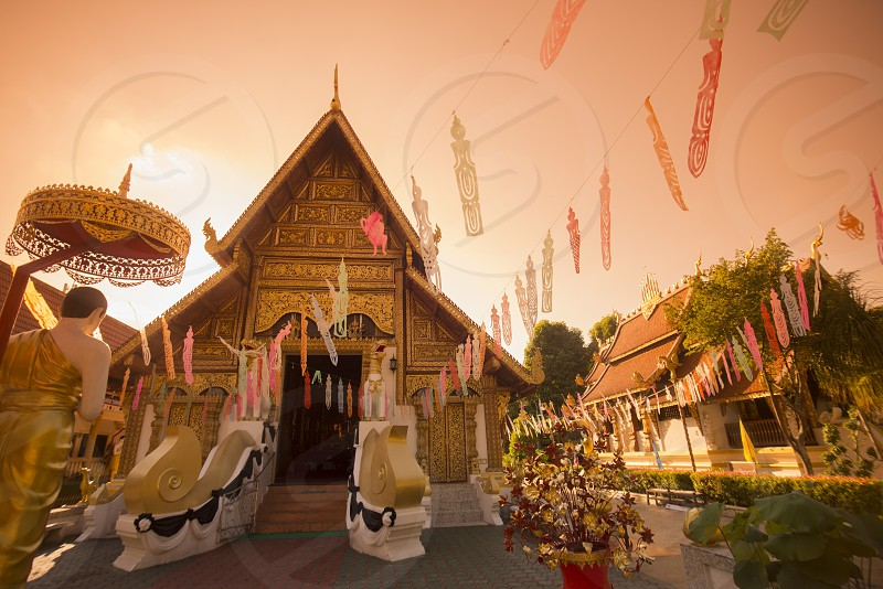 the wat phra singh in the city Chiang Rai in North Thailand. photo