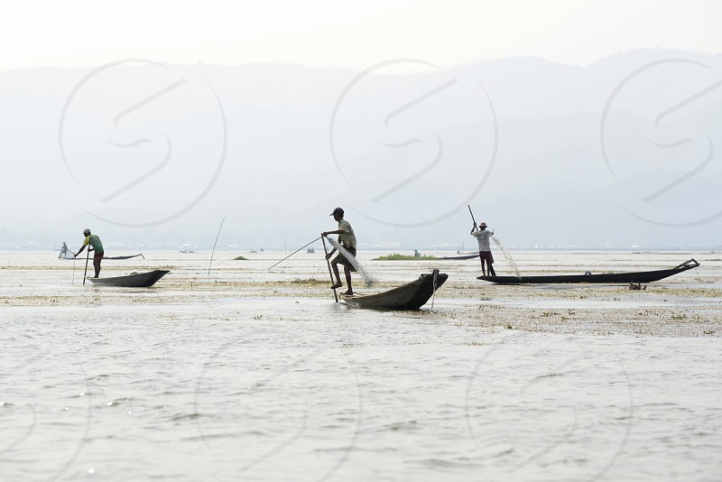 A fishingboat on the Lake Inle near the town of Nyaungshwe at the Inle Lake in the Shan State in the east of Myanmar in Southeastasia. photo