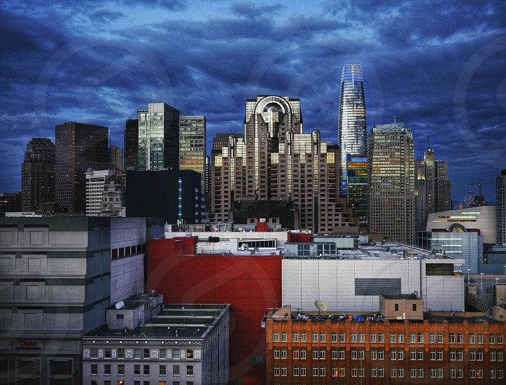 View downtown San Francisco from Mint Plaza with Salesforce Tower and Marriott Hotel  photo