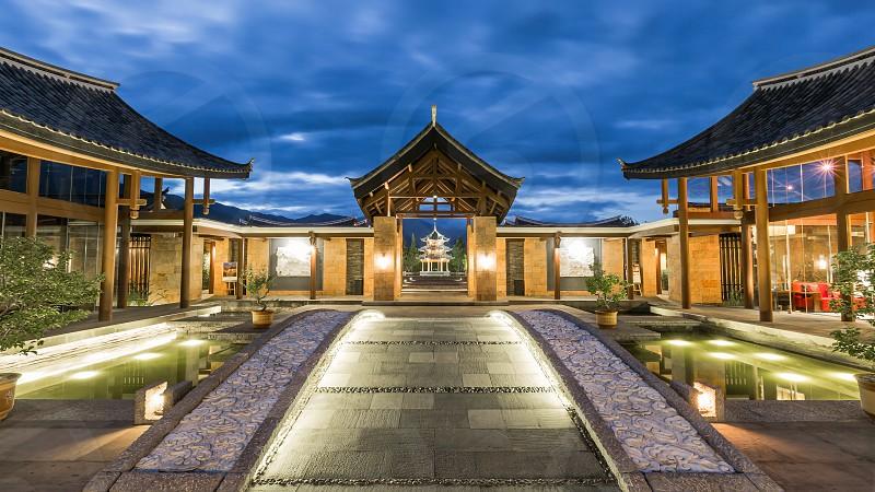Entrance of Banyan Tree Hotel in Lijiang China photo