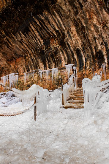 Ice cold frozen Zion national park stairs photo