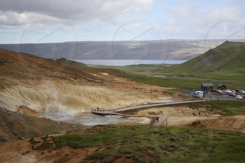Geothermal tourist site in southern Iceland photo