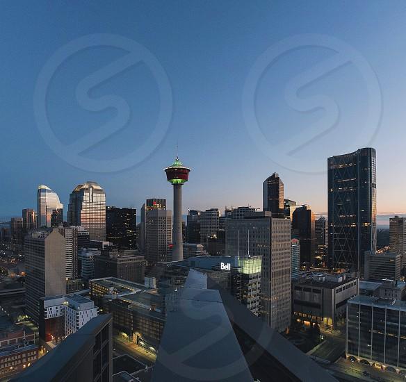 City night Canada Calgary urban street lights photo