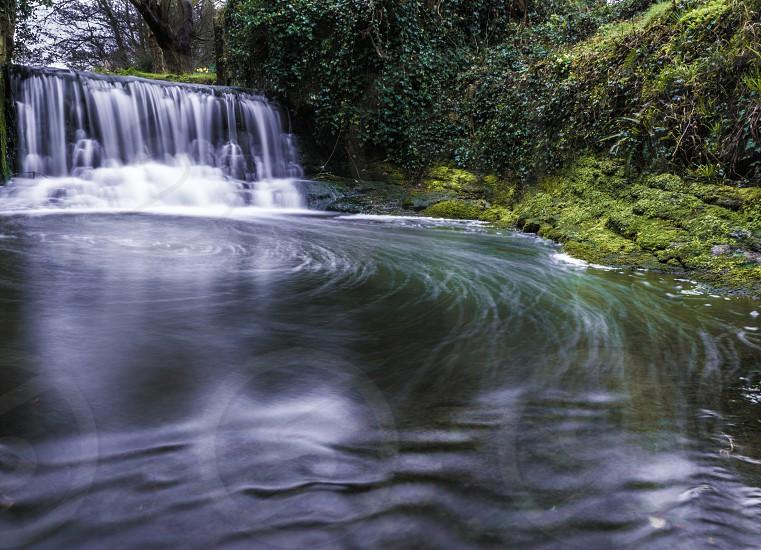 Water waterfall pool long exposure bubbles river stream dark photo