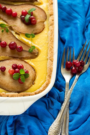 Tart with pears and sweet cheese photo