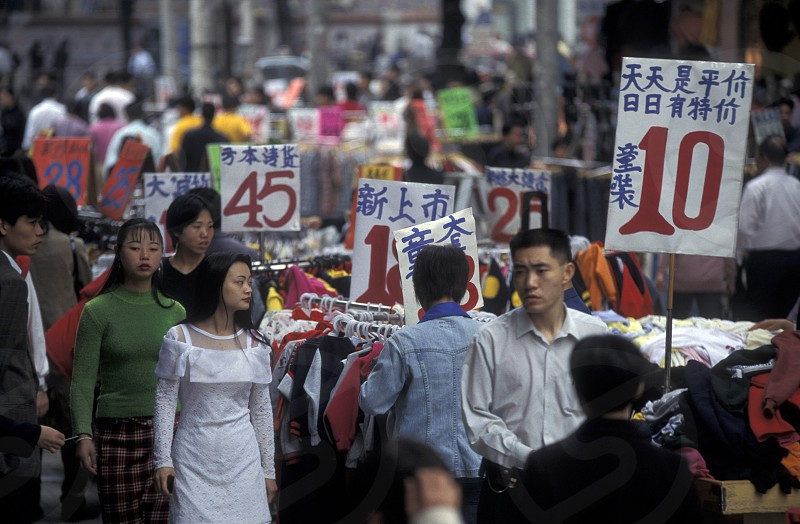 a market street in the city of Shenzhen north of Hongkong in the province of Guangdong in china in east asia.  photo